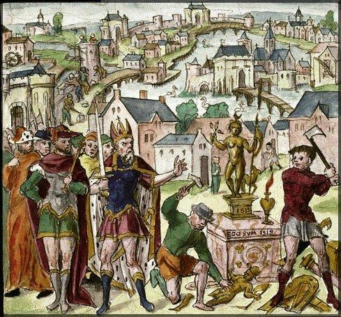Valentinien détruisant les statues païennes
