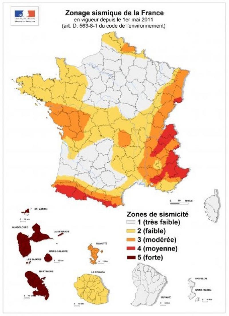 Carte de France sismique